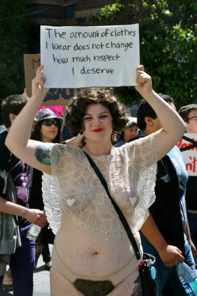 chubby-bunnies:  crowcrow:  a great picture of me at SF slutwalk 2012. i nervously just made this my facebook profile picture.   Besides receiving my wedding dress today, this is the best thing that I've seen all day.