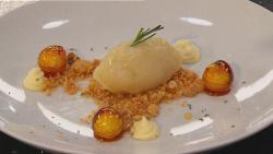 Toffee Apple Sorbet with Macadamia Crumble and Rosemary Cream