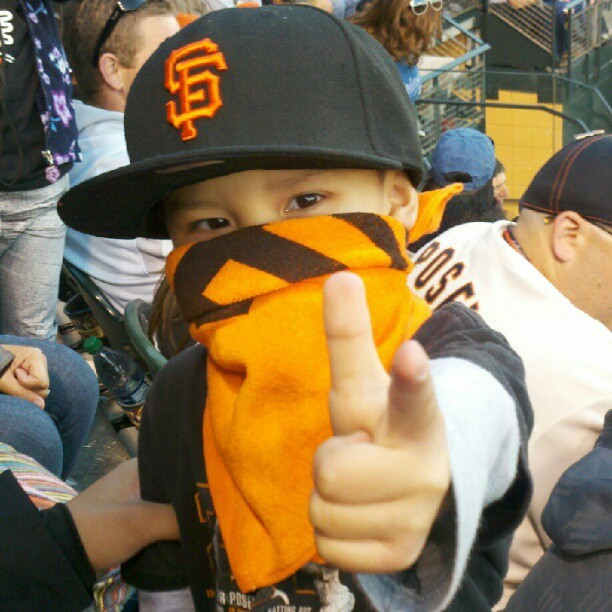 "Aiddan says, ""Gun them down!"" Go SF Giants! (Taken with Instagram)"