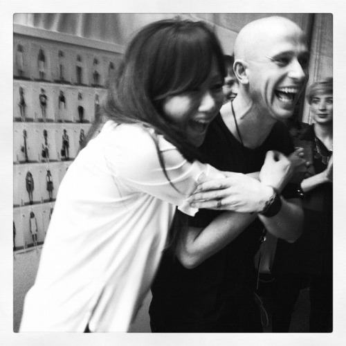 Jane, the creative director at DKNY and I during the finale of the show today.