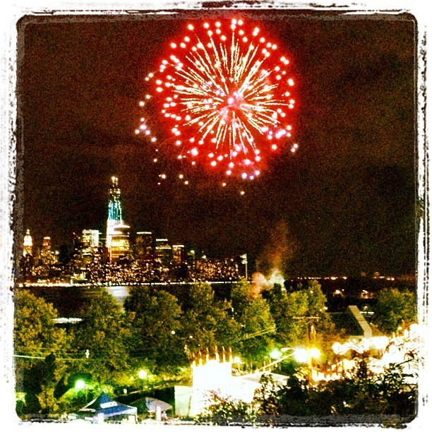 I remember watching the Hoboken Italian Festival fireworks 11 years ago in front of the original World Trade Center. Watching them again tonight now that the new 1WTC is finally topped out, it feels like a sort of closure. (Taken with Instagram at Stevens Institute of Technology, Hoboken, NJ)