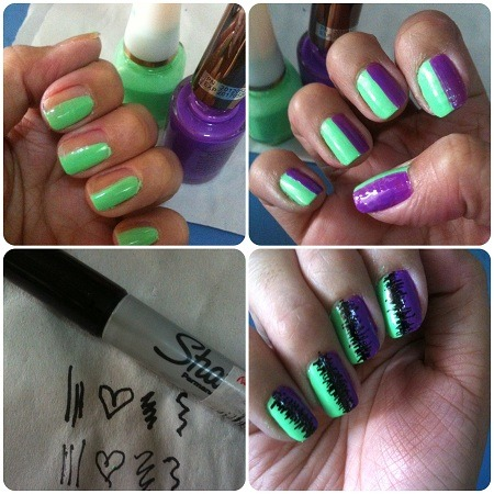 DIY Sharpie-fied Nails.   Here's a little tutorial on how you can use a trusty Sharpie (permanent ink marker)  for fun nail art! The trick is to practice the design or doodle you intend to draw on your nails using both of your hands. If you can have a friend draw on your claws, well and good, but for people who like selfy nail art (like me!), practice makes perfect. Here's how you can create the look I just did:     1) Choose two polish colors and paint the lighter colored one on half of your nail (don't forget your base coat, by the way). 2) Coat the darker color on the other side; it's fine if it's not perfectly straight since you'll draw on top of it! 3) While waiting for my nails to completely dry, I practiced some squiggles on a paper using both thin and thick Sharpie tips. I'm left handed, so I had to practice using my right hand to draw in designs. 4) Carefully doodle on your nail, then wait for the ink to completely dry before adding a top coat (if you don't, you'll smudge the Sharpie doodle and ruin your nails!). I found doing this sort of zig zaggy Ikat-like design easy to draw with both hands since it allows for messy squiggles.  I'd love to draw some hearts, stars, and other cutesy things next, but then I'll need to practice being right-handed for it too!