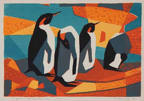 Penguins, Stanley Park, Vancouver, a numbered silkscreen print by Thelma Alberta Manarey (1913-1984), currently up for auction at Levis Fine Art Auctions based in Calgary. The online auction closes Saturday, September 15, 2012. From the book Artists of Alberta (1980) by Suzanne Devonshire Baker:   Since 1965 Manarey has been the recipient of four major awards, including the Performing and Creative Arts Award, Visual Arts, City of Edmonton, 1973. Her works are found in many private collections in Edmonton and in Alberta House, London, England. Manarey exhibits mainly in Edmonton, although she has participated in group shows across Canada and in Oregon. She has also been commissioned to paint several official government portraits. Although best known for her miniature etchings, Manarey also paints with acrylic, watercolour, and oils.     Congratulations are in order: this item exceeded the $75 estimate and sold for $110 to paddle 1108.