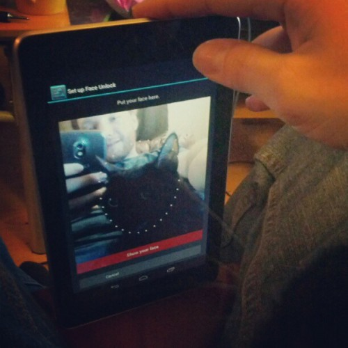 Trying to setup face unlock with my cat on the #nexus7  (Taken with Instagram)