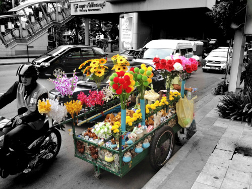 A splash of color on a dim day in Bangkok.