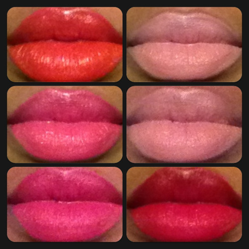 Wet n Wild Megalast lipstick. 1st column: purty persimmon, don't blink pink, smokin hot pink. 2nd column: think pink, just peachy, stoplight red. Love, love, love these!!! Bought them on sale at Walgreen's for $1.49.