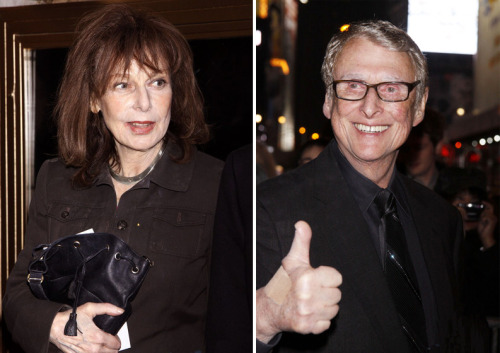 Elaine May, Mike Nichols at the Broadway opening of Nichols' production of Death of a Salesman March 15, 2012.a