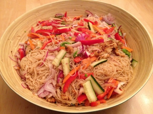 Cold Noodle Salad N and I dreamed this up together while we were on a long, hot car ride recently. After a weekend away of eating rich food, we wanted something simple and healthy. This is a quick refreshing dish that can be made with any veggies you have on hand. It keeps well as leftovers too. Vermicelli rice noodles, cooked and rinsed with cold water Cucumber Bell pepper Red Onion (Can sub any other veggie you have: broccoli, cooked squash, etc.) Rice Vinegar sesame oil Sweetener Gomasio* Salt and Pepper To Make: Chop veggies in thin strips  In a bowl, mix together rice vinegar, sweetener, sesame oil, gomasio, salt and pepper to taste.  Toss veggies, sauce and noodles together. Sprinke more gomasio on top. Serve cold.  *Gomasio is a delicious dry condiment used often in Japanese and macrobiotic cooking. It is made of sesame seeds, seaweed, salt and sometime sugar. It can be found at most grocery stores with an Asian foods isle. It comes in varying degrees of healthiness, so check the label.  -E