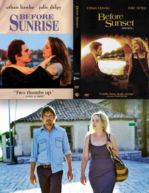 popcultureinfatuation:  Before Sunrise (1995) + Before Sunset (2004) + Before Midnight (2013)  If there's two films that I recommend to everyone over and over again, it's Before Sunrise & Before Sunset. I can't find a fault between the two films, and the parallels between the two, absolutely brilliant. They're like When Harry Met Sally x An Affair To Remember x Lost in Translation x 2 Days In Paris x My Dinner with Andre x lots of other great films. I didn't think there would ever be a third film, I was quite happy with how Before Sunset ended, but knowing that there is a third film is very exciting and I'm a huge fan of how they waited 9 years between each one. I could easily go into detail about my love for these two films, but I won't. Just do yourself a favour, get off your ass (well, stay on your ass) and watch these two films.