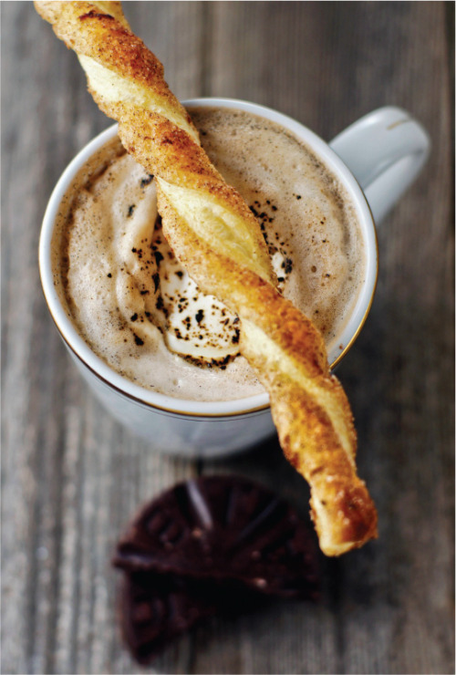 noperfectdayforbananafish:  Puff Pastry Cinnamon Sticks & Mexican Hot Cocoa (by Today's Nest)