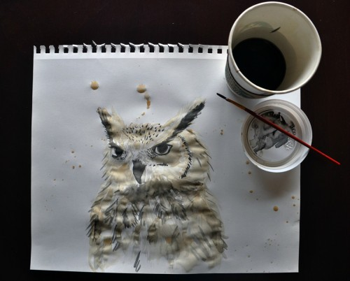 flyingpenguinapparatus:  My coffee got cold, so I made an owl with it.   How I wish I could join the ranks of les artistes.