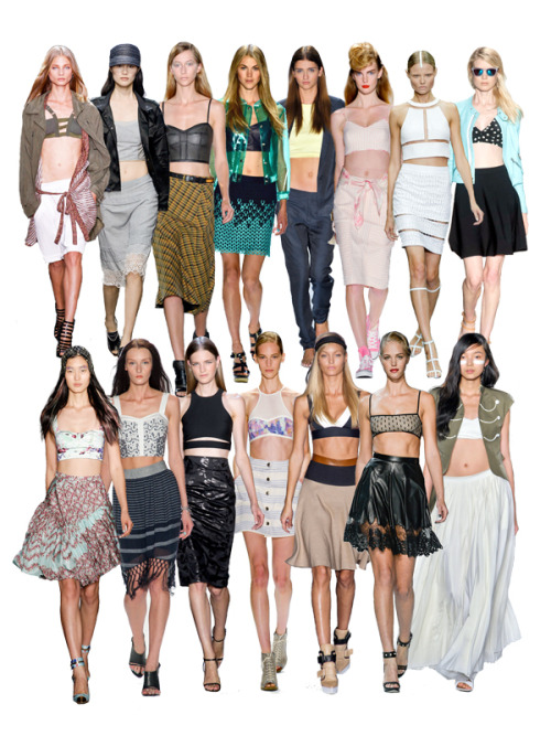 NYFW S/S 2013: Crop Till You Drop Top Row (L to R): Edun, Rag & Bone, Derek Lam, Samantha Ronson, Tibi, Ruffian, Alexander Wang, Rebecca Taylor. Botton Row (L to R): Peter Som, Rebecca Minkoff, Cushnie Et Ochs, Richard Chai Love, DKNY, Jason Wu, Boy by Band of Outsiders.