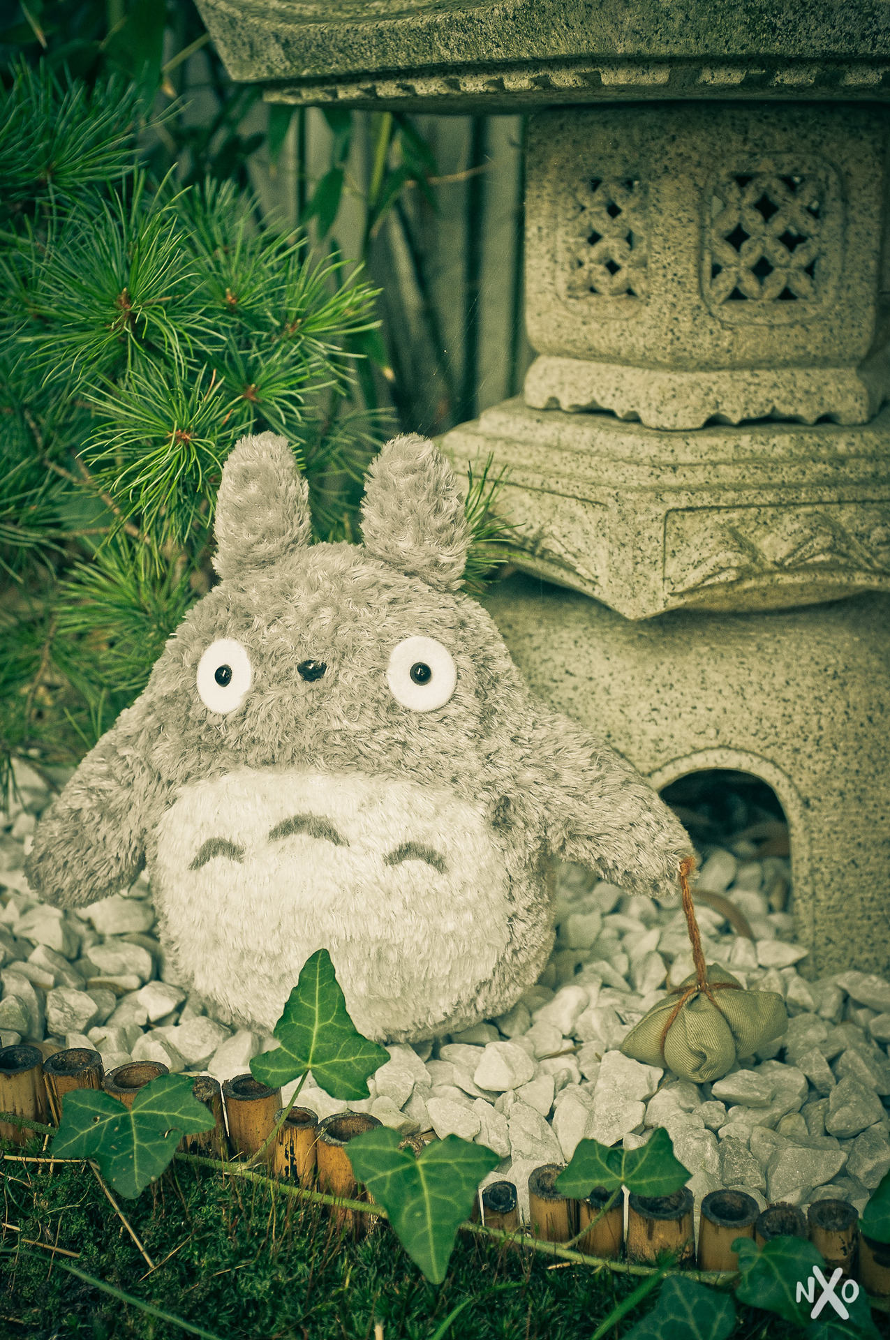 New Totoro plush in the garden!