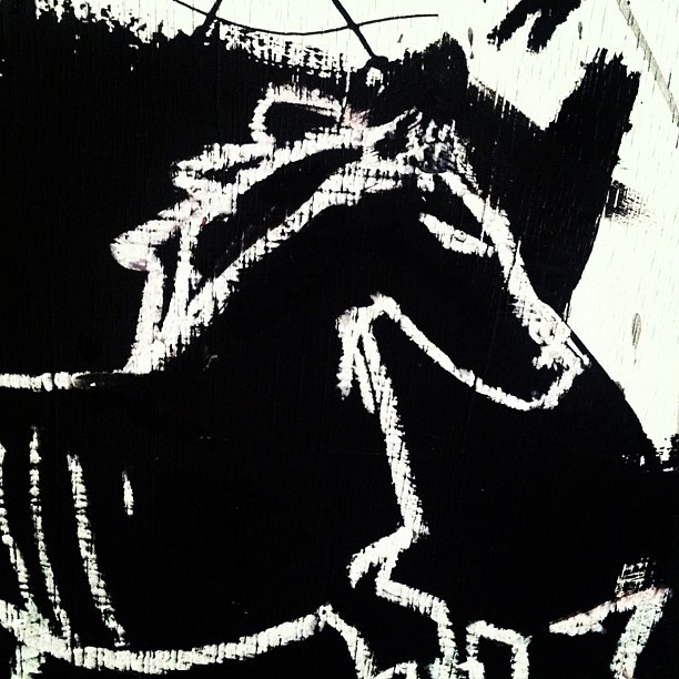 "Up late painting horses. ""you can only lead a horse to water, you can't make him drink it."" -Georgie. #gregorysiff #matteroftime #gallerybrown #10/20/2012 @cypress71  (Taken with Instagram at the treehouse. )"
