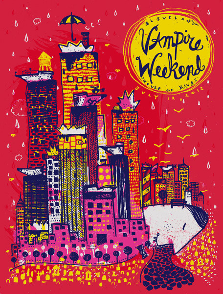 Vampire Weekend - House of Blues in Cleveland, OH 2012 poster by The Bubble Process