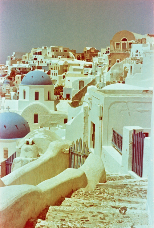 Blue Dome Churches, Oia, Santorini, Greece | Shot with a Nikon FM2 and Revolog 600nm film.