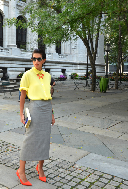 Pops of color pre Victoria Beckham at the New York Public Library.