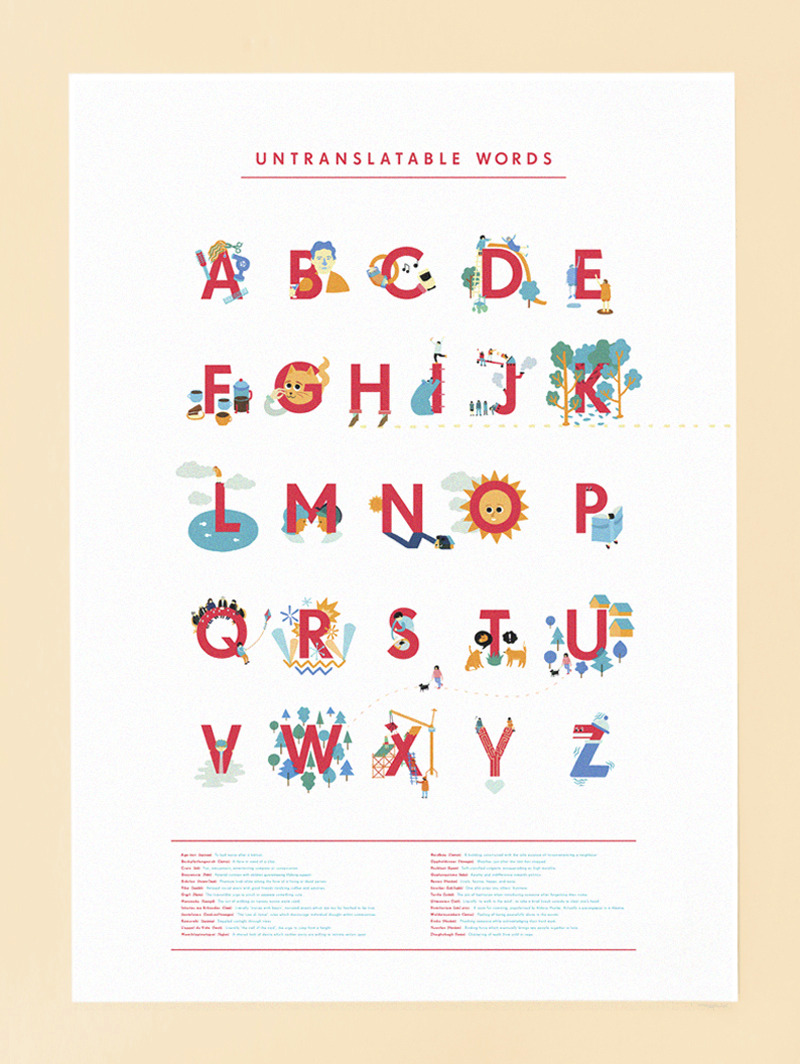 I've made some A2 posters of the A-Z which are for sale in my shop. Published in Paperweight Magazine (a new, very nice humour based iPad magazine), The Boston Globe and Reader's Digest.
