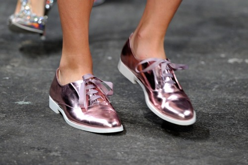 Jazzy shoe alert! Check out these Christian Siriano for Payless metallic pink oxfords.