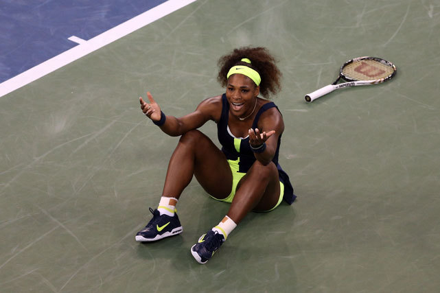 Serena Williams celebrates match point after defeating Victoria Azarenka to win the women's singles final match of the 2012 U.S. Open. For Williams, it is her 15th career Grand Slam title. (Clive Brunskill/Getty Images) PRICE: Serena stays cool in winning 15th Grand Slam titleGRAHAM: Refusing to lose, Serena solidifies her legacyGALLERY: Best Photos from the U.S. Open | Celebrities