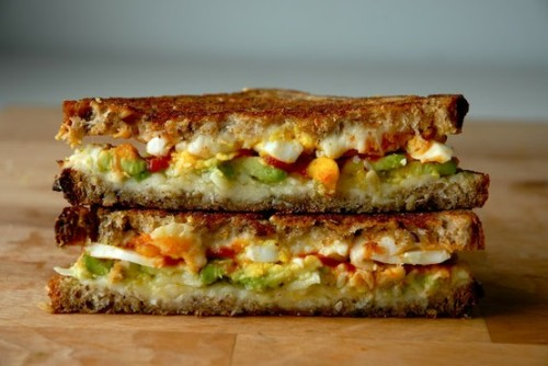 Grilled Cheese with Avocado, Egg and Sriracha