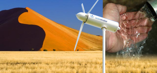 springwise:  Wind turbine turns airborne moisture into drinking water  With wind power companies still trying to convince the sceptics of their benefits, we've seen forward-thinking innovators looking even further into the future, with airborne windmills and small scale wind farming. Taking a different approach, France's Eole Water has now created a turbine that can condense water in the air and make it safe for drinking. READ MORE…