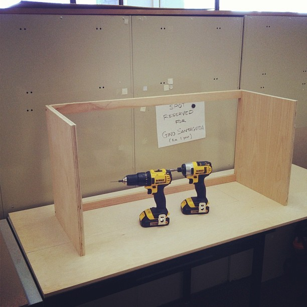 Building a cabinet with my new drills! #drill,#wood,#carpenter,#design,#desk,#dewalt  (Taken with Instagram)