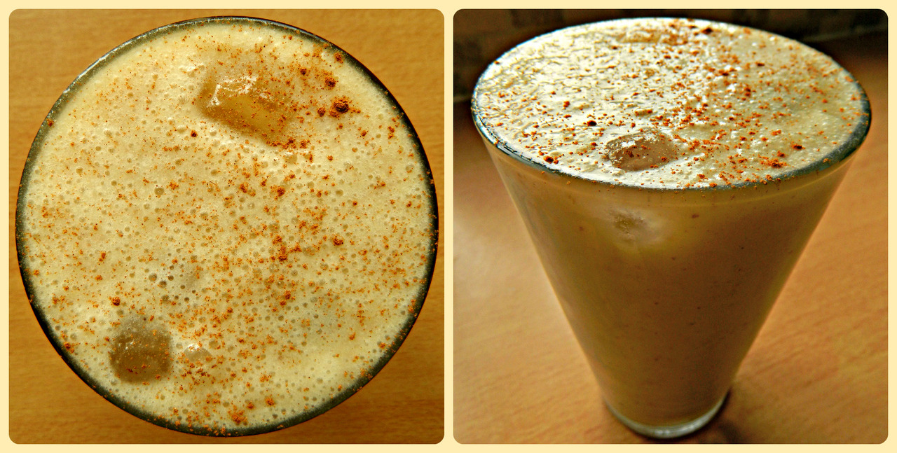 Breakfast this morning - banana, PB and cinnamon smoothie. 2 very ripe bananas, heaping tsp of organic peanut butter, a few shakes of cinnamon, 1 tbsp ground flaxseed, a handful of ice, 1/3 cup almond milk, 1/3 cup water.