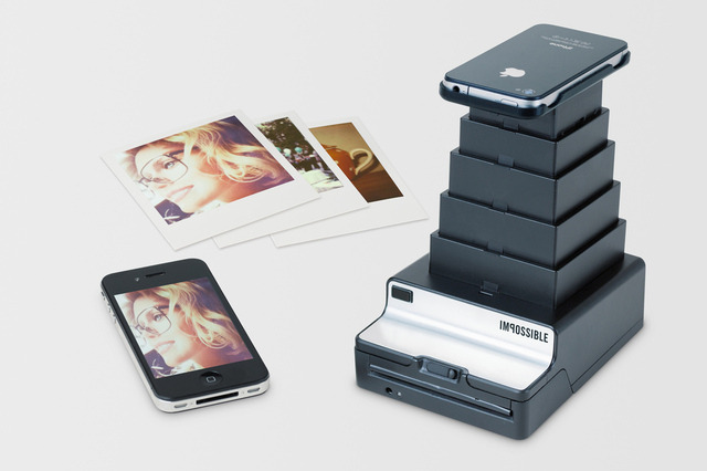 thisistheverge:  Impossible Project's 'Instant Lab' prints Polaroids of your digital snapshots Currently being funded on Kickstarter, the prototype is basically an instant camera specially designed to capture images from the iPhone's retina display. A cradle mounted atop an extensible bellows helps line up your screen with the Lab's optics, while an accompanying app crops the image, sets a countdown timer, and adjusts exposure settings before printing from the film processing unit below.
