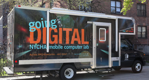 The NYCHA Digital Van is in the Bronx Today offering free Wifi & computer access until 4 pm. To find out more the van's schedule, visit bit.ly/bxdigital.