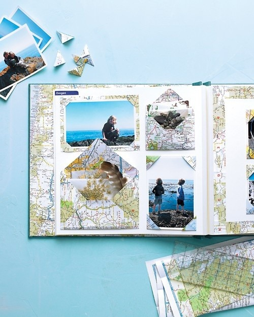 DIY Map Scrapbook (by Martha Stewart)  Relive your favorite travel memories by creating keepsakes from your family vacation photos, souvenirs, postcards, and other memorabilia. Give the maps that guided you to favorite destinations a second life in a scrapbook. The printed papers become colorful and fitting backdrops for vacation mementos (and using them is easier than folding the map itself).
