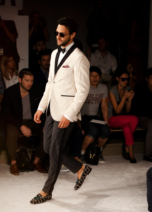 Noah Mills looking dapper in Michael Bastian's modern take on classic tux at NYFW SS13
