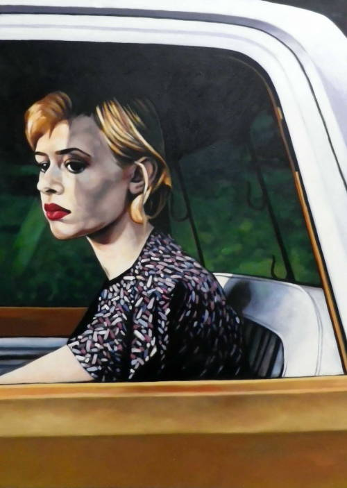 Car window Oil on canvas 85/120cm No new but i really love the Hopper feel about it.