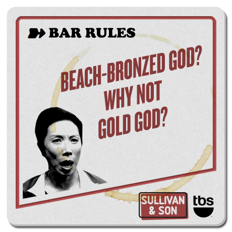 Beach-bronzed god? Why not gold god?  #SullivanandSon on TBS - New Series Thursdays at 10/9c