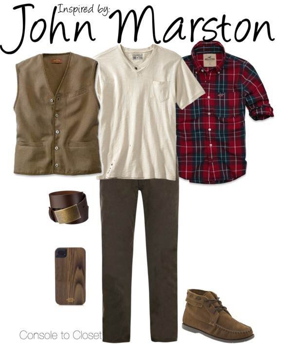 John Marston (Red Dead Redemption) by ladysnip3r featuring a summer vest This outfit is inspired by John Marston of Red Dead Redemption. I wanted to do a sort of hipster cowboy look using a brown palette. I chose dark skinny cords, paired with a white v-neck, plaid button up, and brown vest. I also chose really cool moccasin looking shoes and a wooden iPhone case. (Reference Image) Summer vest / Minnetonka Moccasin Chukka Boot / Jack Spade Woodgrain iPhone Case / Hollister Co Broad Beach Shirt / Merona Men's Belt Casual Brown / Converse One Star Mens Short-Sleeve Jersey