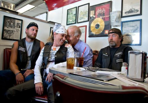 Joe Biden Gets Touchy With Some Bikers Is that a copy of the Affordable Care Act in your pocket or are you just happy to see me?