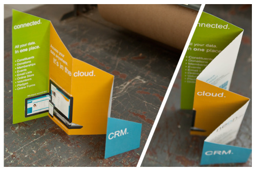 "These creative brochures from NeonCRM may look like a custom job, but these Four-Fold Diagonal Brochures are actually a standard product we offer!   Product: Four-Fold Diagonal Brochures Stock: 100 lb. Gloss Text Flat Size: 16.875 x 10.75"" Finish Size: 3.38 x 10.75"" Inks: Full Color Finishing: Folded (4) times to create (10) panels. Accordion fold+ diagonal cut"