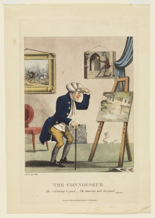 The Connoiseur (sic), 1830Unknown, BritishHand-coloured etching and aquatint on wove paper, Image: 29.8 x 19.3 cm,<br />Overall (sheet): 33.7 x 23.5 cm,Gift of the Trier-Fodor Foundation, 19852012 Art Gallery of Ontario