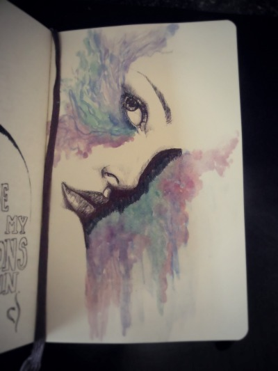 Current WIP in Moleskine. Biro and watercolour. http://georgiavictoriaart.tumblr.com/