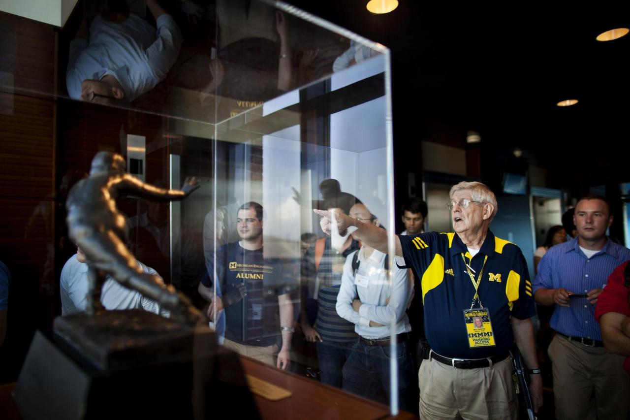 Bill Austin, Michigan Stadium tour guide, shows members and students in the masters in Entrepreneurship Program; a new collaboration between the College of Engineering and the Ross School of Business at the University of Michigan, the Michigan Football stadium on August 27, 2012.  Photo: Joseph Xu, Michigan Engineering Communications Marketing www.engin.umich.edu