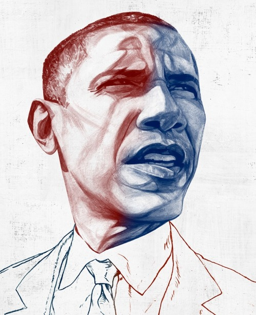 Illustration of Barack Obama, by Jeffrey Decoster, for Huffington.