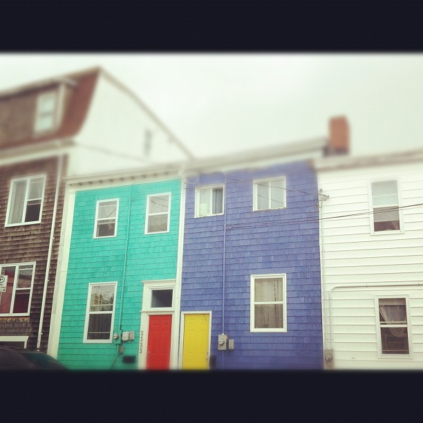 Who wants to live in a blue house with me?  @colourful #houses #projects #halifax  #trippy (Taken with Instagram)