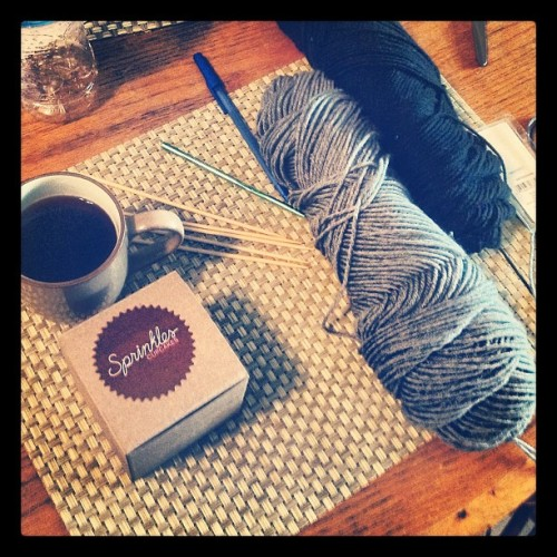 You know what? It's going to be a good day. #sprinkles #knitting #coffee (Taken with Instagram)