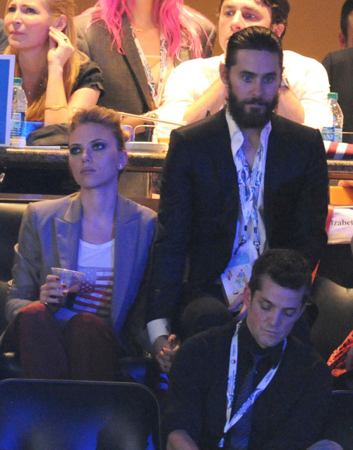 amypop:  imwithkanye:  I hear Scarlett Johansson is dating Jared Leto again. The two were seen canoodling at Barack Obama's nomination party.   this photo is far funnier than it has any right to be.  Whenever anyone asks me how I'm feeling today, I'm going to send them this photo.