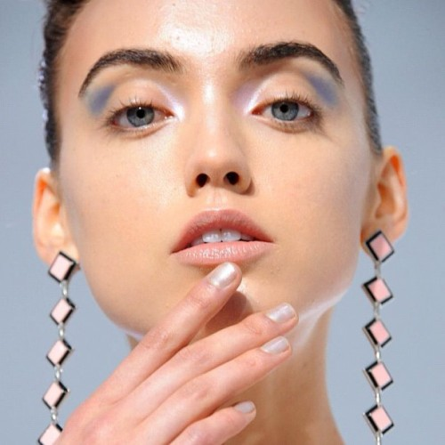 Nails at Catherine Malandrino Spring 2013. Get the look with a mix of @cndworld Air Dry Coat, Additives in Titanium Pearl and two drops of Blackjack. #nyfw #backstagebeauty #nails (Taken with Instagram)