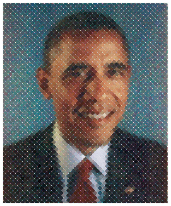 Reblog of the day: Chuck Close created a woven tapestry of the president's image, which was on view at the Mint Museum in Charlotte, N.C., during the Democratic National Convention.  More portraits by Close will be on view at Pace Gallery's 534 W 25th Street location from October 19 through December 22. blouinartinfo:  Ten editions of Chuck Close's portrait tapestry of President Barack Obama will be sold for $100,000 to benefit the Obama Victory Fund.
