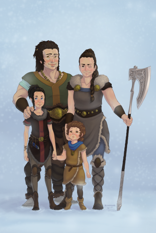A viking queen and her family.From rp-campaign.My friend made the lineart and I painted it.Madnice.