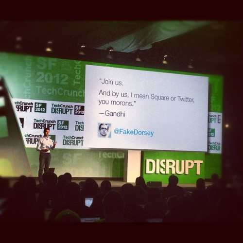 """Join Us"" via @jack & @fakedorsey via #tcdisrupt #techcrunch12  (Taken with Instagram at TechCrunch Disrupt SF 2012)"
