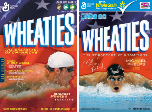 "A Brief History of the Olympic Cereal Box Star As someone who has no doubt experienced a curious sensation known, scientifically, as ""the munchies,"" Phelps is lucky that he has been courted by both Wheaties and Corn Flakes."