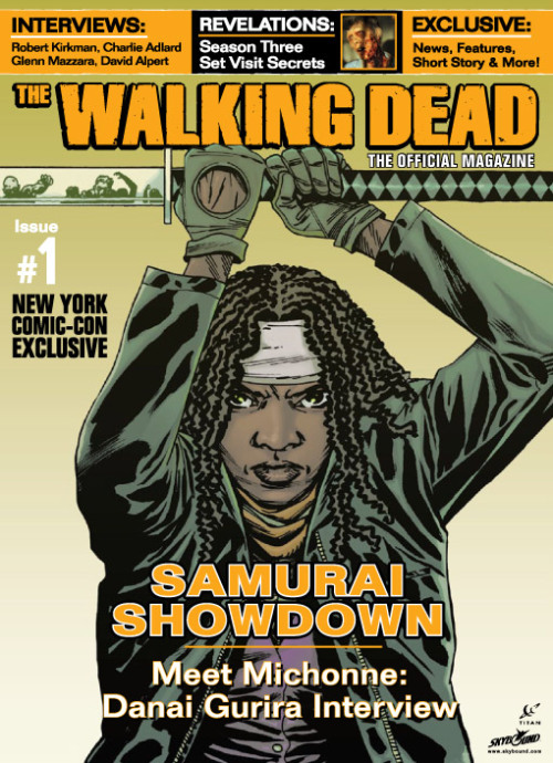 entertainmentweekly:  The Walking Dead: The Official Magazine hits stores Oct. 23 — but those attending New York Comic-Con on Oct. 11 will be able to buy a special copy of the publication with a cover by Walking Dead artist Charlie Adlard. Michonne!!